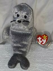 Beanie Baby Plush Doll Ty toy quot;Slipperyquot; the seal Multiple Tag Errors Date 98 99