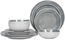 Melamine Dinnerware Set - 12pcs Dishes Dinnerware Set For 4 Indoor And Outdoor