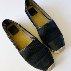 tory burch womens grenada mesh leather espadrille shoes size 9 black $69.99