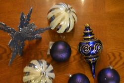 Large Size 7 Count Assorted Shapes Shatterproof Christmas Ornaments Bluesilver