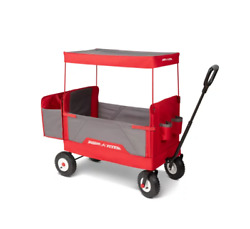 Radio Flyer, 3-in-1 All-terrain Ez Fold Wagon With Canopy, Red And Gray New
