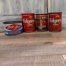 Vintage Lot Of 4 Coffee Tin Cans 1lb Folgers, Hills Bros, Stop-n-shop