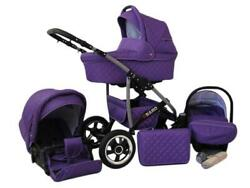 Lux4kids Pram 3 In1 2in1 Isofix Complete Set With Car Seat Q-bus 12 Colors