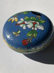 """Cloisonne Enamel Trinket Box Brass 2"""" Small Blue Green Floral White Orchid"""
