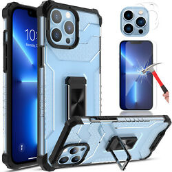 For Iphone 13 Pro Max Case Clear Shockproof Ring Stand Cover/hd Screen Protector