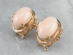 Pink Coral Rose Gold Filigree Statement Earrings