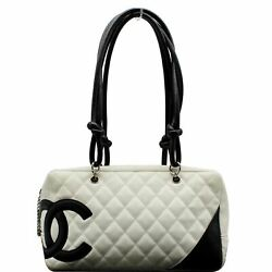 Cambon Ligne Quilted Leather Bowler Tote Bag White