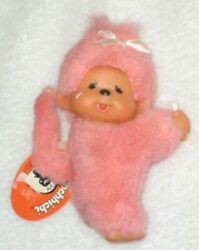 Vintage Monchhichi Sekiguchi Baby Pink Monkey 3 Doll With Bottle New Tags