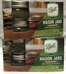 New X2 Ball 4ct Half Pint 8oz Wide Mouth Mason Jars Unique Shape For Gifting