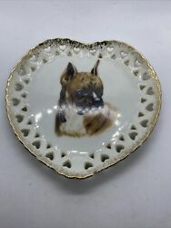 VINTAGE CHINA PORCELAIN BOXER DOG WALL HANGING HEART PLATE MADE IN JAPAN