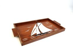 Original French Art Deco Cocktail Tray Ship Sailing Boat Glass Antique 1930