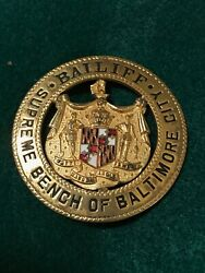 Vintage 1920and039s Baltimore City Md Maryland Supreme Court Bench Bailiff Badge