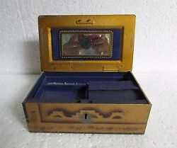 Vintage Old Collectible Tin Handcrafted Vanity Box Jewelry Box With Mirror