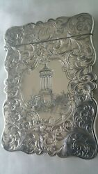 Stunning Antique Silver Castle Top Card Case Scott And Dugald Stewart Monument