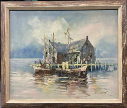 Seascape Signed Oil Painting On Canvas By Martha Eleanor Nicholson Hurst