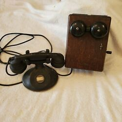 Rare Antique Vintage Western Electric Wood Desk Wall Telephone Untested