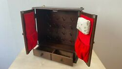 Antique Wooden Sewing Cabinet With 16 Spikes For Spools And A Place For A Pin