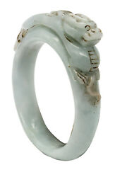 China 1800 Qing Dynasty Very Rare White Jade Bangle With Carved Dragon On Top