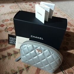 CHANEL Bag Clutch Cosmetic Makeup Case Pouch Silver Quilted Lambskin Leather $475.00