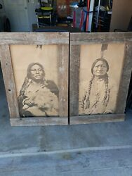 Barnwood framed vintage posters of Sitting Bull and Chief Gall Native Americans