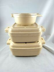 Vtg Littonware 6 Pc Casserole Dishes And Lids Microwavable