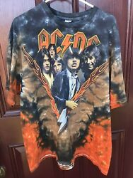 Vintage Acdc Highway To Hell Orange Fire Flames Band Tie Dye T Shirt Size 2xl