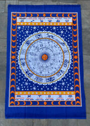 Zodiac Blue 100% Cotton Poster Size Wall Hanging Tapestry 45 x 29 Home Decor