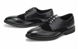 Golaiman Men's Pluto Oxford Wingtip Style Dress Shoes In Black With Rounded Toe