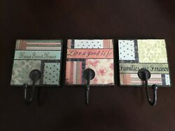 Happy Thought Inspired Decorative Wall Coat Hat Key Plaque Hooks Set of 3