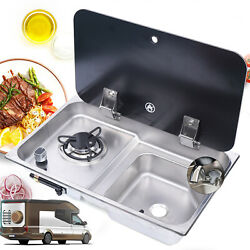 Boat Rv Caravan Lpg Gas 1 Stove Hob And Sink Comb With Faucet And Glass Lid Gr-903