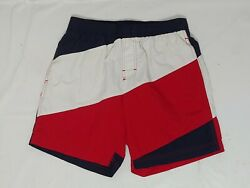 Red White Blue Diagonal Striped Swimming Trunks Mens Small
