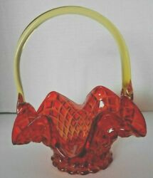 Collectible Fenton Amberlina Glass Vintage Handle Basket With Diamond Quil