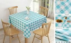 100 Waterproof Square Pvc Tablecloth Checkered Vinyl Table 54x54in Blue Teal