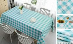 100 Waterproof Rectangle Pvc Tablecloth Checkered Vinyl 52x70in Blue Teal
