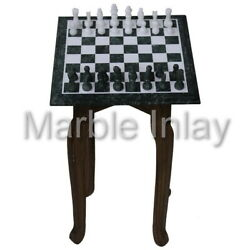Chess Board Green Marble Antique Chess Set Vintage Indoor Game 12x12
