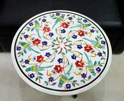 24and039and039 Antique White Marble Coffee Table Top Bird Round Inlay Lapis Decor W12
