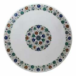 30and039and039 Antique White Marble Coffee Table Top Malachite Round Inlay Lapis Decor W12