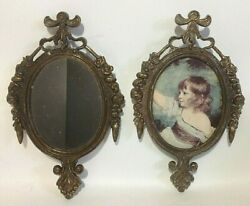2 VINTAGE MADE IN ITALY ORNATE METAL FRAMES 1 Mirror 1 picture