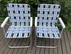 Vintage Aluminum Folding Lawn Chairs Webbing Arms Set Camping Tailgate Sunbeam
