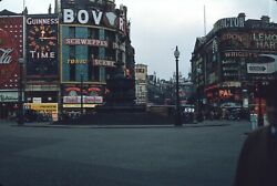 Piccadilly Circus London England 1950s Vintage 35mm Red Border Slide