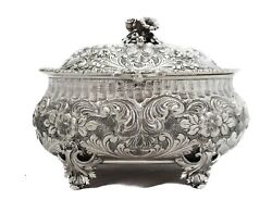 Italian 925 Sterling Silver Oval Garland And Floral Intricate Esrog Jewelry Box