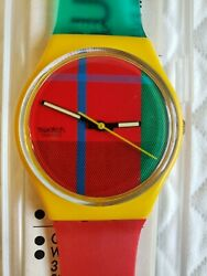 Vintage Swatch Watch 1985 Mcgregor Gj100 With Matching Case