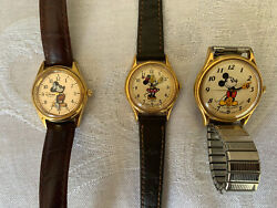 Lot Of 3 Vintage Mickey Mouse Womens Watches 2 Lorus 1 Time Works- 1 Big Hands