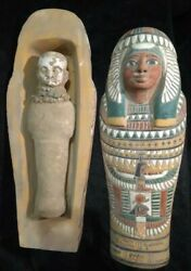 Ancient Egyptian Mummify Coffin Box Colored Sarcophagus Queen Ushabti Stone F02