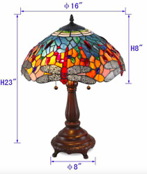 Style Stained Glass Red Dragonfly Table Lamp 16 Shade New