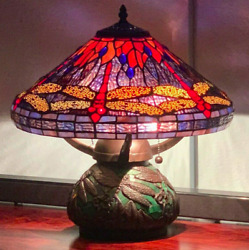 Style Stained Glass Red Dragonfly Table Lamp W/mosaic Base 16 Shade New