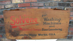 Antique 1928 Wooden Solvene Cudahy Soap Works Large Crate / Box U.s.a.