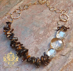 Aimee Fuller Statement Necklace Brown Shells Jewelry Faceted Czech Glass Gold