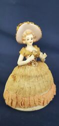 Vintage Doll Porcelain Figurine W/ Extended Arms And Bonnet. Nice And Original