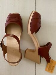 New Swedish Hasbeens 41 Buckle High Peep Toe Clogs Shoes Sandals 9 9.5 10